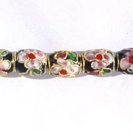 CLOISONNE BEADS - BLACK BARREL 10X12MM